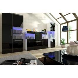 Obývací pokoj NICEA 6, bílá/černý lesk