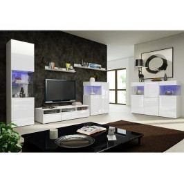 Obývací pokoj NICEA 5, bílá/bílý lesk