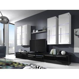 Obývací stěna BARI s LED osvětlením, bílá/bílý lesk + černý lesk
