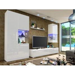 Obývací pokoj NICEA 2, bílá/bílý lesk