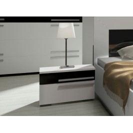 Smartshop Noční stolek HAVANA, bílá/bílý + černý lesk