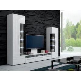 Obývací stěna ROMA II s LED osvětlením, bílá/bílý lesk