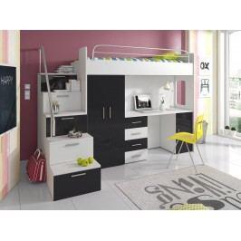 Patrová postel se skříní a psacím stolem RAJ 4S, bílá/černá