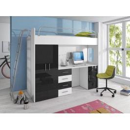 Smartshop Patrová postel se skříní a psacím stolem RAJ 4D, bílá/černý lesk