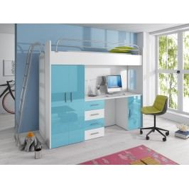 Smartshop Patrová postel se skříní a psacím stolem RAJ 4D, bílá/tyrkysový lesk