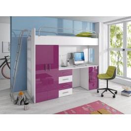 Smartshop Patrová postel se skříní a psacím stolem RAJ 4D, bílá/fialový lesk