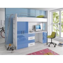 Smartshop Patrová postel se skříní a psacím stolem RAJ 4D, bílá/modrý lesk