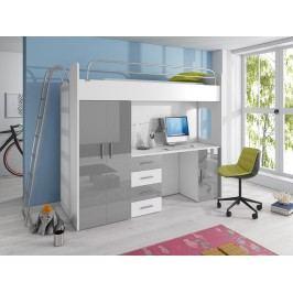 Smartshop Patrová postel se skříní a psacím stolem RAJ 4D, bílá/šedý lesk
