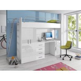 Smartshop Patrová postel se skříní a psacím stolem RAJ 4D, bílá/bílý lesk