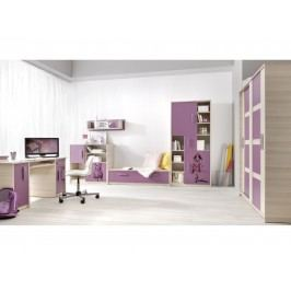BREGI dětský pokoj, jasan/fialová+móda ZRUŠENO