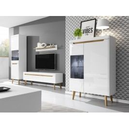 Smartshop Obývací stěna NORDI, bílá/bílý lesk/dub riviera