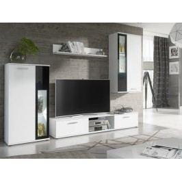 Smartshop DANI obývací stěna, bílý mat/černé sklo DOPRODEJ