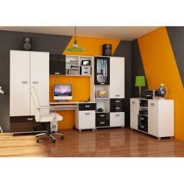 Studentský pokoj SOLO 2, bílá/černý lesk
