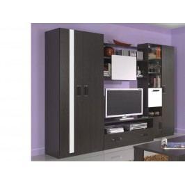 Smartshop Obývací stěna ORLANDO 280 cm, wenge/bílý lesk