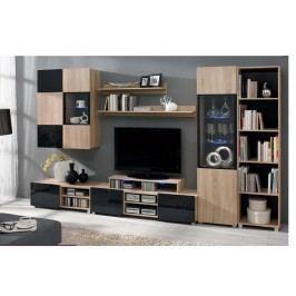 GORDIA obývací pokoj, dub sonoma/černý lesk