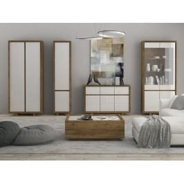 Smartshop ASPEN obývací pokoj, dub lefkas/bílý lesk