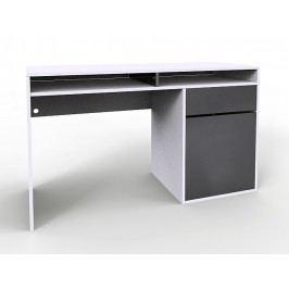 Smartshop Psací stůl AGENT bílý lesk/šedý lesk