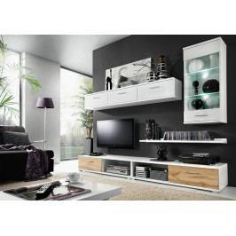 MALLIBU, obývací stěna, bílá/dub wotan