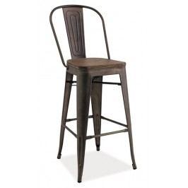 Smartshop Barová kovová židle LOFT H-1, grafit/tm.ořech