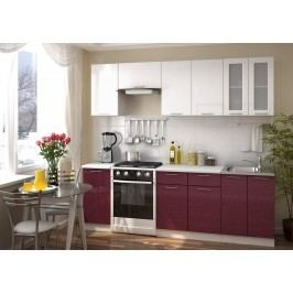 Smartshop Kuchyně VALERIA 180/240, bílá/granát metalic