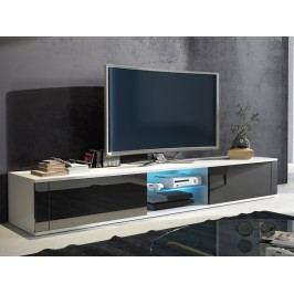 MORAVIA FLAT TV stolek HIT, bílá/černý lesk