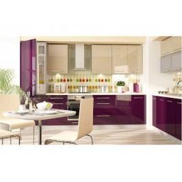 Extom Kuchyně PLATINUM 380/440 cm, korpus jersey, dvířka vanilla+violet