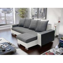 Rohová sedačka GORDI 2,  šedá látka/bílá ekokůže