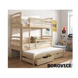 Patrová postel s přistýlkou ALAN 80x180 cm, masiv borovice/barva:..