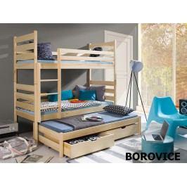 Patrová postel s přistýlkou VIKI 90x190 cm, masiv borovice/barva:..