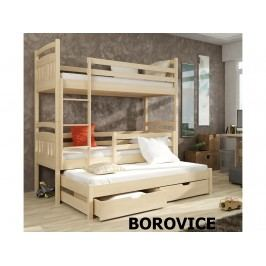 Patrová postel s přistýlkou IGOR 80x180 cm, masiv borovice/barva:..