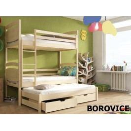 Patrová postel s přistýlkou COLO 90x200 cm, masiv borovice/barva:..