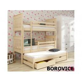 Smartshop Patrová postel s přistýlkou JAREK 80x180 cm, masiv borovice/barva:..