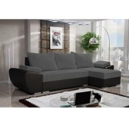 Smartshop Rohová sedačka CORK 5, šedá látka/černá ekokůže