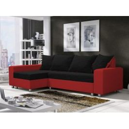 Rohová sedačka SEUL 4, černá látka/červená ekokůže