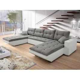 Smartshop Rohová sedačka DARLA U 1, šedá látka/bílá ekokůže