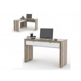 MB Domus NU psací stůl DUE, dub canyon/bílá