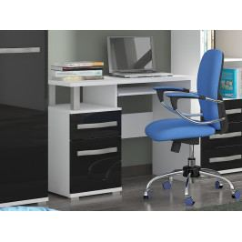 MORAVIA FLAT ANGEL PC stůl 1D1S, bílá/černý lesk