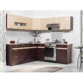 Rohová kuchyně ELIZA 220x210, dub wenge/rijeka světlá