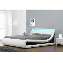 MANILA čalouněná postel s roštem a LED osvětlením 183x200 cm, bílá/černá