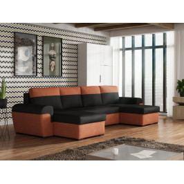 Rohová sedačka FILO U, černá látka/oranžová látka