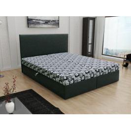 Čalouněná postel JERRY 160x200, šedá látka se vzorem/černá ekokůže
