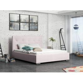 Čalouněná postel SOFIE 1 180x200 cm s roštem a matrací, růžová látka