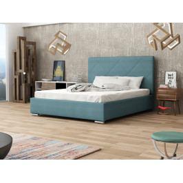 Čalouněná postel SOFIE 5 180x200 cm s roštem a matrací, modrá látka