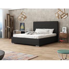 Čalouněná postel SOFIE 5 160x200 cm s roštem a matrací, černá látka