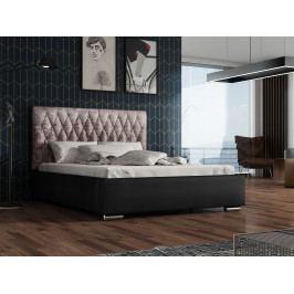 Čalouněná postel TOKIO 140x200 cm s roštem a matrací, lanýžová látka/černá ekokůže