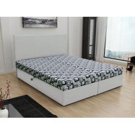 Čalouněná postel JERRY 160x200, šedá látka se vzorem/bílá ekokůže