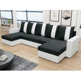 Rohová sedačka PRAGA U, černá látka/bílá ekokůže