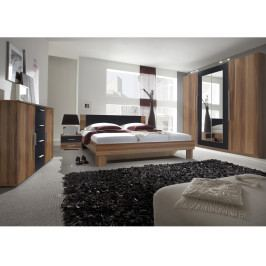 VERA ložnice s postelí 180x200, červený ořech/černá