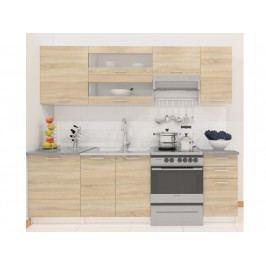 FABIANA, kuchyňská  linka 180/240 cm, dub sonoma/bílá