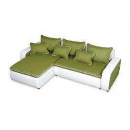Rohová sedačka TOKYO 2 levá, zelená látka/bílá ekokůže